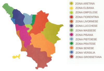 Le Zone del Comitato Regionale Toscano di Anpas